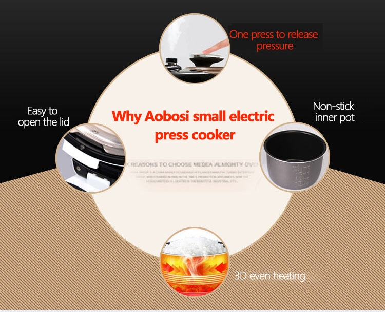 Aobosi YBW30-80Q Programmable Pressure Cooker 3Qt/800W Non-Stick Cooking Pot Digital Cooker